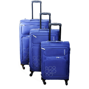 American Tourist Trolley Polyester Set Of 3 Blue Luggage Sets