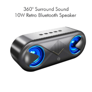 Xmate Volt 2 * 5W Bluetooth Speaker with FM/USB/TF/Display/Hands-Free Calling/Party Speaker (Black)